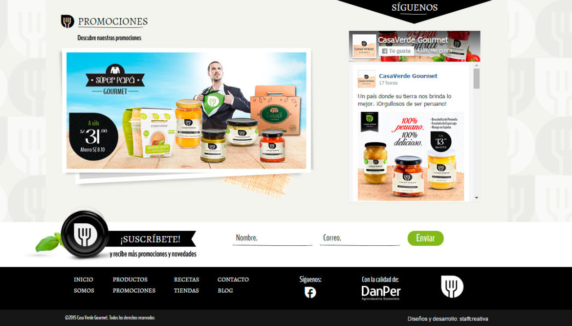 Ejemplo 1: CasaVerde - Productos Gourmet Ready to Eat
